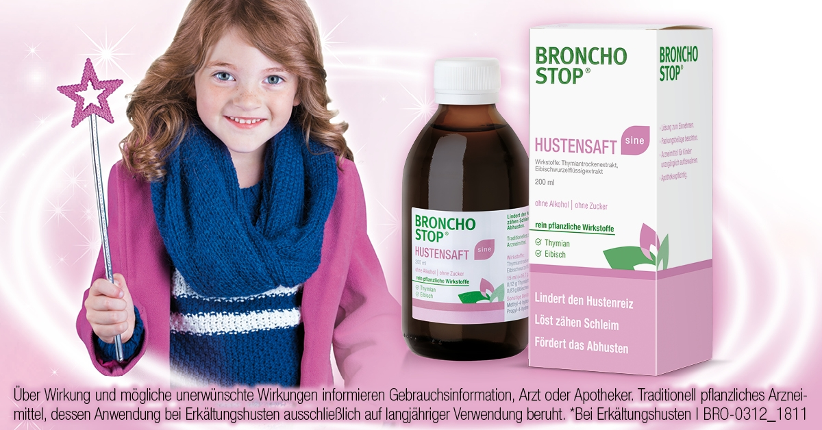Bronchostop Facebook Feed Ad 1200x628px Saft sine